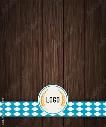 Vector Octoberfest background for beer table menu or flyer. Vintage rustic design with dark wooden backdrop.