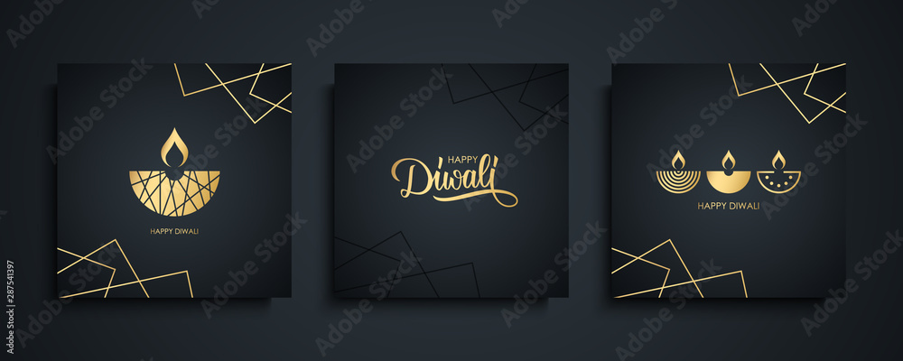 Fototapety, obrazy: Happy Diwali luxury greeting cards set. India festival of lights holiday invitations templates collection with hand drawn lettering and gold diya lamps. Vector illustration.