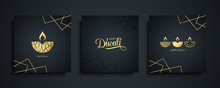 Happy Diwali Luxury Greeting Cards Set. India Festival Of Lights Holiday Invitations Templates Collection With Hand Drawn Lettering And Gold Diya Lamps. Vector Illustration.