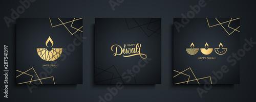 Pinturas sobre lienzo  Happy Diwali luxury greeting cards set