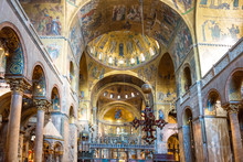 Luxury Interior Of Saint Mark's Basilica With Gold And Lots Of Mosaics. Venice, Italy