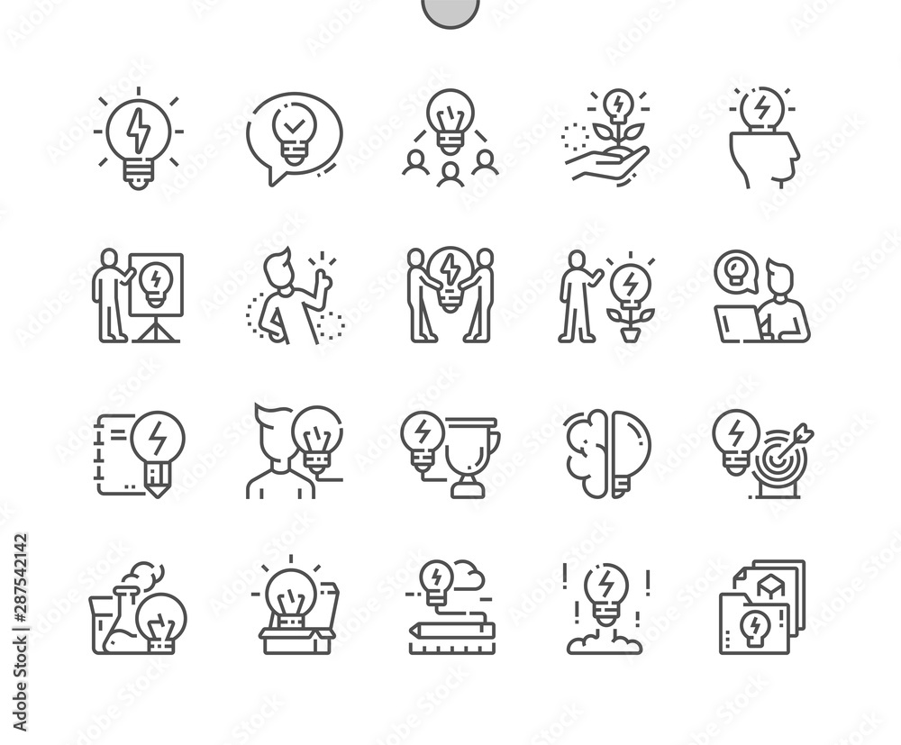 Fototapeta Idea Well-crafted Pixel Perfect Vector Thin Line Icons 30 2x Grid for Web Graphics and Apps. Simple Minimal Pictogram