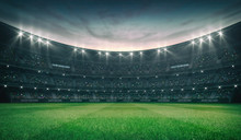 Empty Green Grass Field And Illuminated Outdoor Stadium With Fans, Front Field View, Grassy Field Sport Building 3D Professional Background Illustration