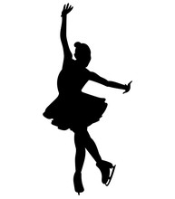 Silhouettes Girls Skaters. Fig...