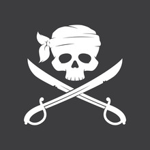 Vector Drawing Pirate Skull Wi...