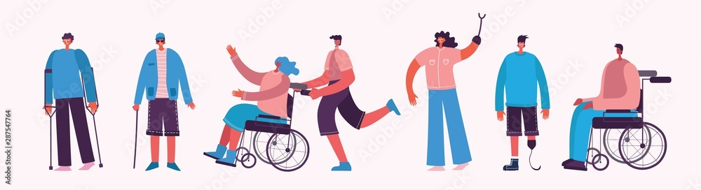 Fototapety, obrazy: Disabled people, young invalid persons, men and women with physical disorder or impairment. Flat cartoon characters.