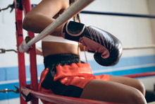 Midsection Of Boxer Relaxing In Boxing Ring