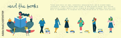 Stampa su Tela Vector concept illustrations of World Book Day, Reading the books and Book festival in the flat style