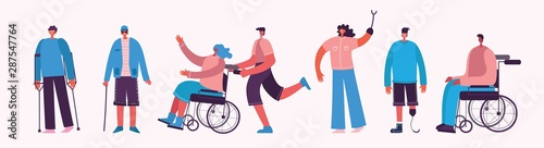 Photo Disabled people, young invalid persons, men and women with physical disorder or impairment