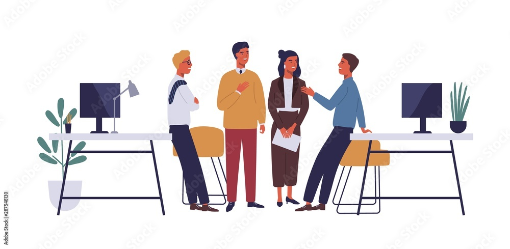 Fototapeta Colleagues in office flat vector illustration. Coworkers relaxing, chatting cartoon characters. Corporate worker, business people communicate. Coworking open space isolated clipart on white background