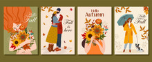 Collection Of Autumn Cards. Ve...