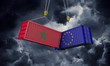 Morocco and europe trade war concept. Clashing cargo containers. 3D Render