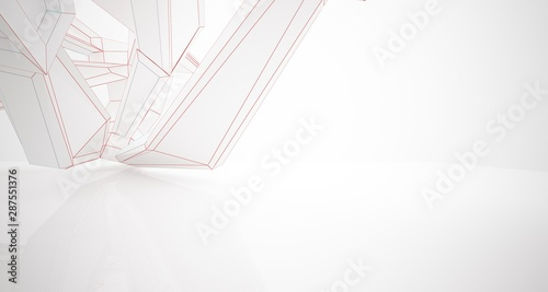 Abstract architectural white interior of a minimalist house with large windows. Drawing. 3D illustration and rendering. - 287551376