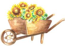 Wooden Wheelbarrow With Sunflowers