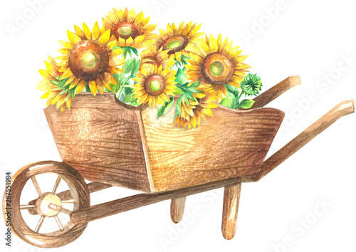 Wooden wheelbarrow with sunflowers Wallpaper Mural