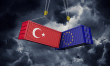 Turkey And Europe Trade War Concept. Clashing Cargo Containers. 3D Render