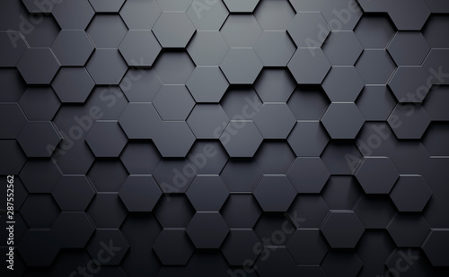 Fotografia Dark gray abstrakt background with heagonal pattern
