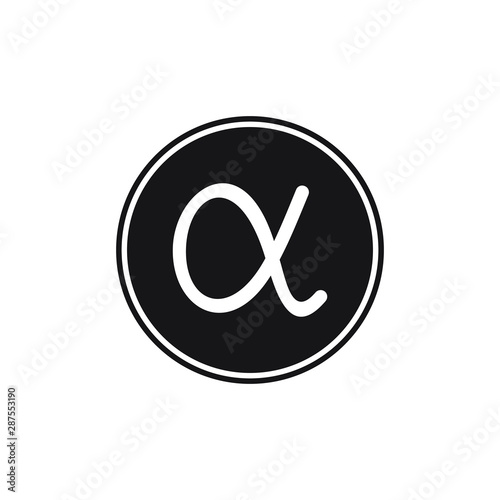 Photo alpha symbol design flat vector