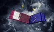 Qatar and europe trade war concept. Clashing cargo containers. 3D Render