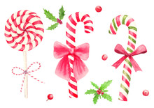 Watercolor Hand Drawn Christmas Candy Cane With Bow And Holly Berry Set Isolated On White Background.