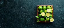 Green Lime In A Wooden Box. Ci...