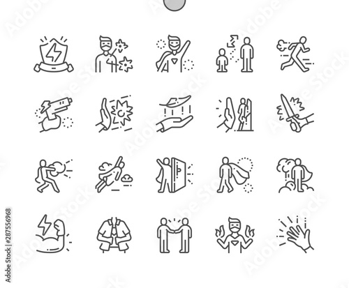 Fotomural  Super hero Well-crafted Pixel Perfect Vector Thin Line Icons 30 2x Grid for Web Graphics and Apps