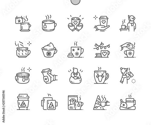 Winter coffee and tea Well-crafted Pixel Perfect Vector Thin Line Icons 30 2x Grid for Web Graphics and Apps. Simple Minimal Pictogram Fototapete