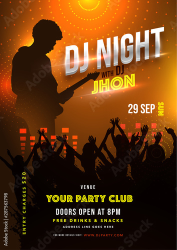 Silhouette character of guitar player during concert with fans on lighting effect background for DJ Night template or flyer design.