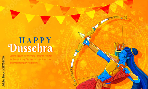 Cuadros en Lienzo illustration of Lord Rama killing Ravana in Navratri festival of India poster for Happy Dussehra