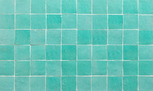 Old Retro Azure Green Ceramic Tile Texture Background. Azure Green Square Tiled Wall.