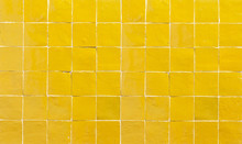 Old Retro Yellow Ceramic Tile Texture Background. Yellow Square Tiled Wall.