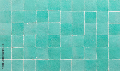 Pinturas sobre lienzo  Old retro azure green ceramic tile texture background