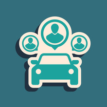 Green Car Sharing With Group Of People Icon Isolated On Blue Background. Carsharing Sign. Transport Renting Service Concept. Long Shadow Style. Vector Illustration