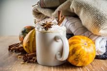 Autumn Pumpkin Spice Latte With Cinnamon Sticks And Anise Stars
