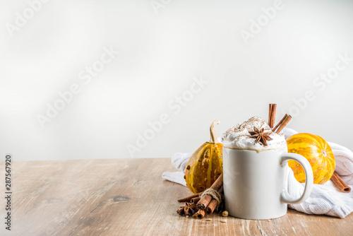 Fototapeta Autumn pumpkin spice latte with cinnamon sticks and anise stars obraz