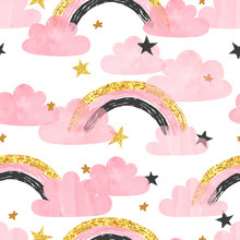 Seamless Pattern With Pink Rainbows, Clouds And Stars. Vector Watercolor Illustration For Kids