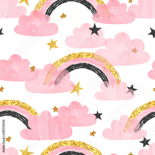 fototapeta na drzwi i meble Seamless pattern with pink rainbows, clouds and stars. Vector watercolor illustration for kids