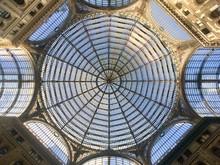 Glasdach Und Glas Kuppel Im Einkaufszentrum Galleria Umberto 1 In Neapel, Italien