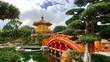Leinwanddruck Bild Rote Brücke mit Pagode in Nan Lian Garden in Hongkong