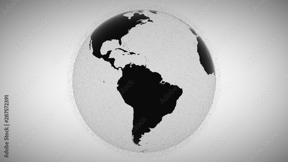 Fototapety, obrazy: 3d animation blurry black flashing points surround rotating black and white planet Earth globe model inrensively in grey background. Motion graph. Outer space rubbish concept. Sputnik groups.