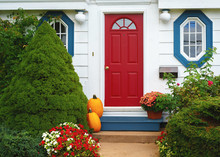 Traditional Style Home Decorated For Autumn.
