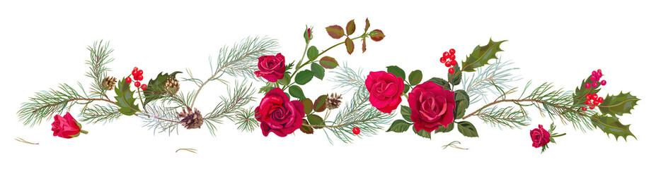 Fototapeta Róże Panoramic view with red roses, pine branches, cones, holly berry. Horizontal border with Christmas tree on white background. Decorative botanical illustration in watercolor style for design, vector