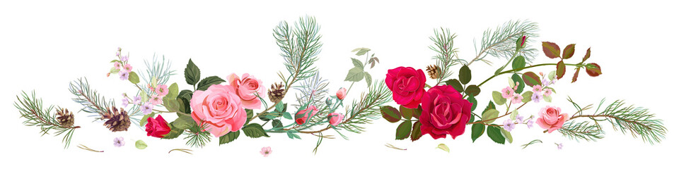 Naklejka Róże Panoramic view with red, pink roses, spring blossom, pine branches, cones. Horizontal border for Christmas: flowers, buds, leaves on white background, digital draw, watercolor style, vector
