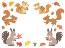 3種のリスと秋の紅葉・どんぐりのイラストセット
