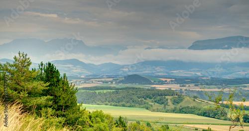 Aluminium Prints Dark grey Panorama around the Croix-Haute mountain Pass, Isère, France