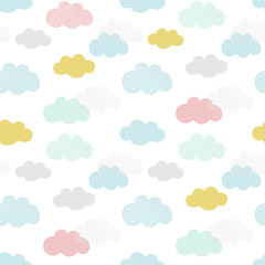 Vector clouds pattern. Hand...
