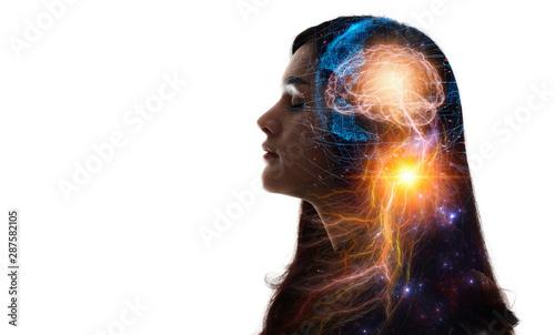 Fototapeta Human head and brain.Artificial Intelligence, AI Technology, thinking concept. obraz na płótnie