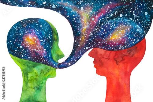 Tableau sur Toile dipinto colorato psicologo e paziente. Terapia