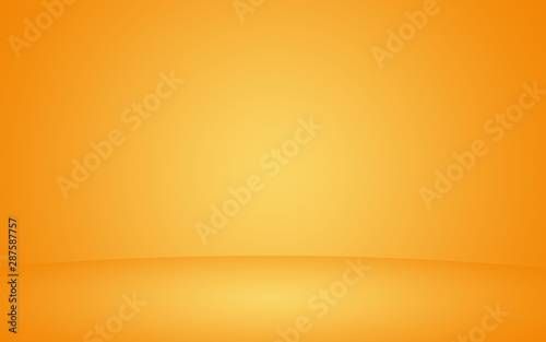 Abstract orange background layout design studio room business report with smooth circle gradient color. luxury mix yellow orange amber gradient background empty room for display product ad and website - 287587757