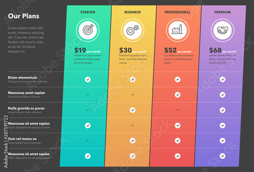 Modern pricing comparison table with four subscription plans and place for description - dark version Wallpaper Mural